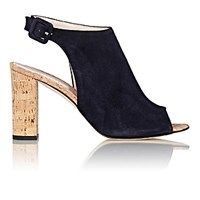 Barneys New York Women's Suede Halter Strap Sandals Navy