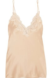La Perla Maison Lace Trimmed Silk Blend Satin Camisole Gold