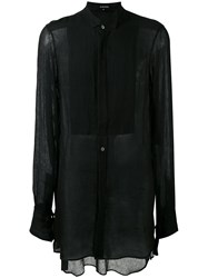 Ann Demeulemeester Sheer Elongated Shirt Black