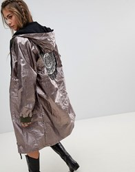 Native Rose Oversized Parka Jacket In Metallic Foil With Beaded Back Patch Grey
