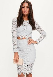 Missguided Grey Crochet Lace Midi Skirt