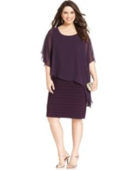 Betsy And Adam Plus Size Chiffon Capelet Sheath Plum