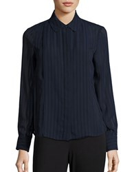 Tommy Hilfiger Sheer Striped Blouse Navy