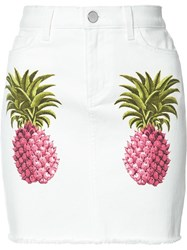 Giamba Pineapple Denim Skirt White