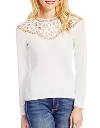 Jessica Simpson Adora Long Sleeve Lace Top White