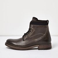 River Island Mens Black Leather Textile Lined Boots