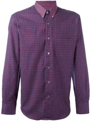 Canali Checked Button Down Shirt Red