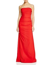 Nicole Miller Strapless Tech Crepe Gown Red