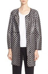 Women's Armani Collezioni Perforated Lambskin Leather Overlay Topper