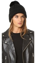 Adrienne Landau Cable Knit Slouch Hat With Fur Pom Black