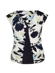 Chesca Floral Print Camisole With Navy Trim Ivory