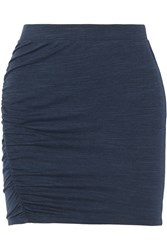 Splendid Ruched Stretch Jersey Mini Skirt Blue