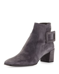 Roger Vivier Polly Suede Side Buckle Ankle Boot Dark Gray