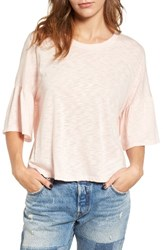 Lush Women's Ruffle Sleeve Tee Blush