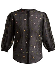 Jupe By Jackie Agrigan Embroidered Cotton Organdy Blouse Black Multi