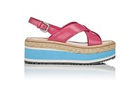 Prada Women's Leather Platform Wedge Sandals Pink Tan White Blue Grey Pink Tan White Blue Grey