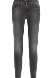J Brand Cropped Mid Rise Skinny Jeans Gray