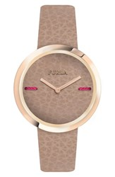 Furla Piper Leather Dial Leather Strap Watch 34Mm Brown Brown Rose Gold