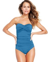 Anne Cole Twist Front Bandeau One Piece Swimsuit Women's Swimsuit Sky Blue