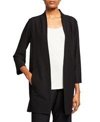 Eileen Fisher Open Front 3 4 Sleeve Lightweight Stretch Crepe Jacket Petite Black