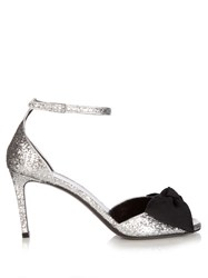 Saint Laurent Jane Bow Detail Glitter Sandals Black Silver
