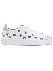 Chiara Ferragni Eyes All Over Sneakers Women Leather Rubber 39 White