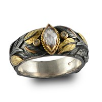 Emma Chapman Jewels Diamond Marquise Carved Ring White