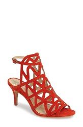 Vince Camuto Women's Prisintha Sandal Blood Orange Sandal Suede