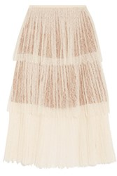 Michael Kors Collection Pleated Tiered Corded Lace Skirt Cream