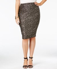 Soprano Trendy Plus Size Sparkle Pencil Skirt Black
