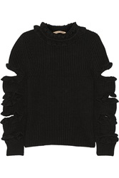 Christopher Kane Cutout Ruffled Cashmere Sweater Black