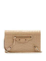 Balenciaga Classic Chain Crocodile Effect Cross Body Bag Beige