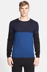 Atm Anthony Thomas Melillo Colorblock Merino Wool Sweater Navy Teal Black