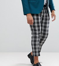 Noose And Monkey Plus Tapered Cropped Check Trouser Grey