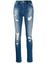 Philipp Plein Distressed Skinny Jeans Blue