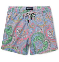 Etro Short Length Paisley Print Swim Shorts Blue