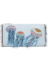 Edie Parker Jumbo Lara Jelly Fish Embroidered Raffia And Acrylic Box Clutch Sky Blue