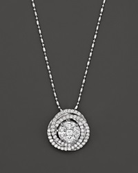 Bloomingdale's Diamond Knot Pendant Necklace In 14K White Gold 1.20 Ct. T.W.
