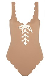 Marysia Palm Springs Lace Up Scalloped Swimsuit Mushroom