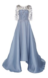 Marchesa Embroidered Capelet Gown Blue