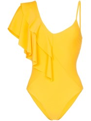 Paper London Sollier One Shoulder Ruffle Swimsuit Yellow