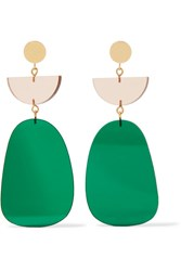 Isabel Marant Gold Tone Acrylic Earrings Green