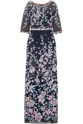 Marchesa Notte Embroidered Guipure Lace Gown Navy