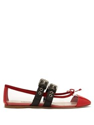 Miu Miu Buckle Fastening Plexi And Leather Ballet Flats Red