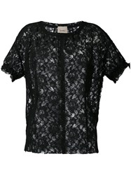 Nude Short Sleeve Lace Top Women Cotton Polyester 42 Black
