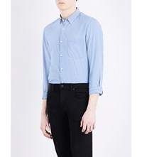 The Kooples Fitted Cotton And Linen Blend Shirt Blu03