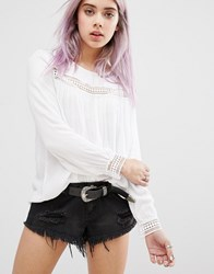 New Look Broderie Detail Smock Top White