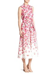 Lela Rose Belted Maxi Dress Fuchsia