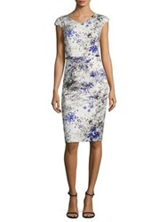 David Meister Printed Cotton Sheath Dress White Purple