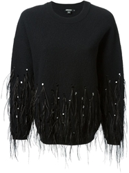 Dkny Feathers And Sequins Embroidered Sweatshirt Black